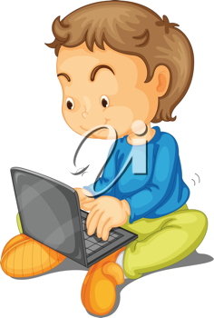 illustration of a boy with laptop on a white background
