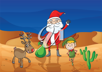 illustration of a santa claus and a reindeer in a desert