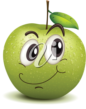 illustration of happy apple smiley on a white