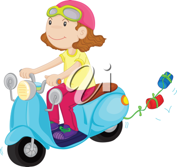 illustration of a girl riding a motorbike