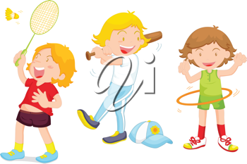 an illustration of three children playing different sports