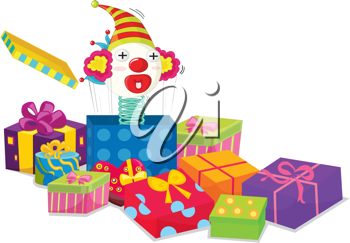 illustration of toy and gift boxes on white