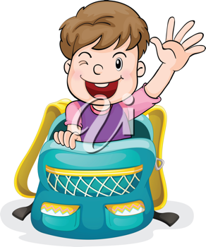 illustration of a boy in the school bag on a white background