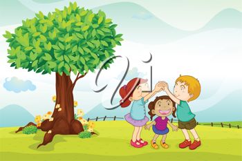 illustration of a kids playing in nature