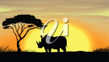 illustration of a Rhinoceros standing under a tree