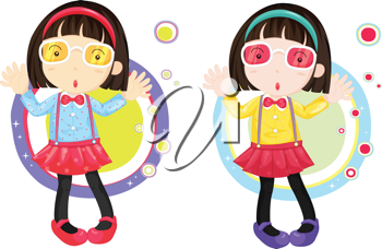 Two almost identical girls in front of strange shapes