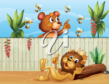 Illustration of a lion, a bear and bees