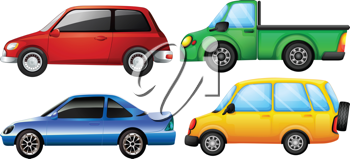 Illustration of four cars with different colors on a white background