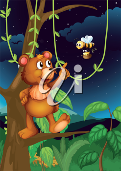 Illustration of a bear on a tree and a flying bee