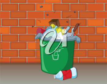 Illustration of a dustbin in front of a wall