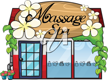 Illustration of a massage spa on a white  background