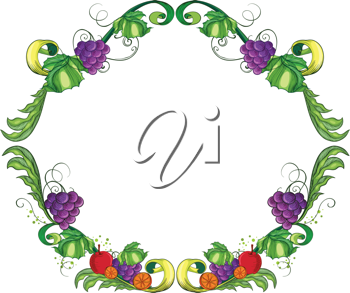 Illustration of a border made of vine fruits on a white background