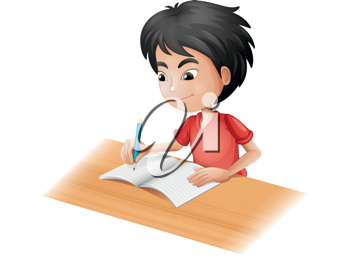 Illustration of a boy sketching on a white background