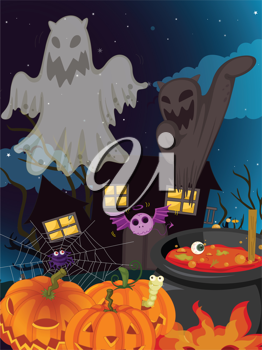 illustration of halloween and ghosts in a dark night