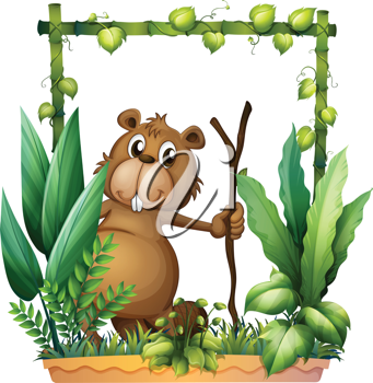 Illustration of a beaver holding a wood on a white background