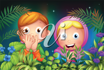 Illustration of a young girl and boy hiding in the garden