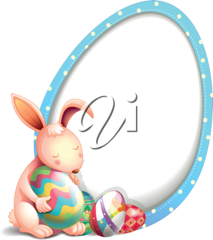 Illustration of a rabbit with easter eggs beside an egg-shaped signage on a white background