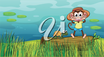 Illustration of a smiling monkey and a tortoise in a beautiful nature