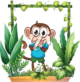 Illustration of a monkey with a blue shirt on a white background