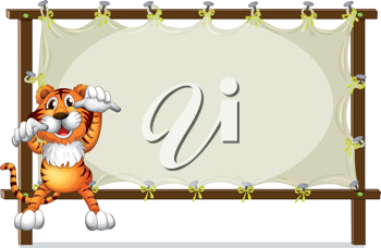 Illustration of a tiger attempting to jump on a white background