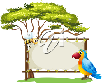 Illustration of a parrot and a bee on a white background