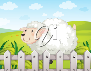 Illustration of a smiling sheep