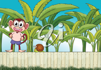 Illustration of a monkey and a snail above the fence
