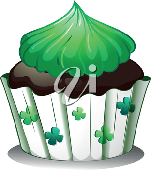 Illustration of a chocolate cupcake with green toppings on a white background