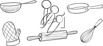 Illustration of the baking tools on a white background