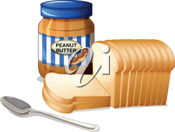 Illustration of the sliced breads and a bottle of peanut butter on a white background