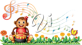 Illustration of a monkey with a drum at the garden on a white background