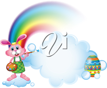 Illustration of a bunny painting near the rainbow on a white background