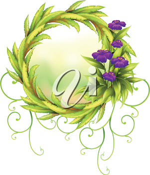 Illustration of a round green border with violet flowers on a white background