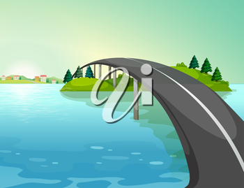 Illustration of a long road above the river