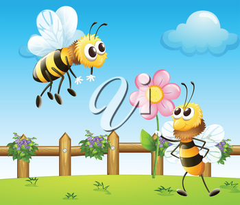 Illustration of two bees inside the wooden fence