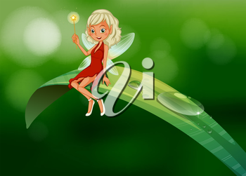 Illustration of a fairy with a wand sitting at the leaf