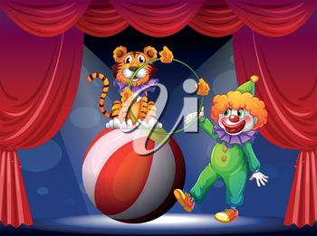 Illustration of a tiger and a clown performing at the stage