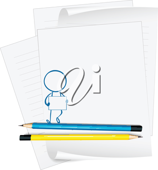 Illustration of a paper with a drawing of a boy holding a signage on a white background