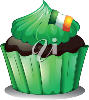 Illustration of a green cupcake with the flag of Ireland on a white background