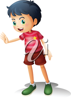 Illustration of a boy with a stripe shirt on a white background