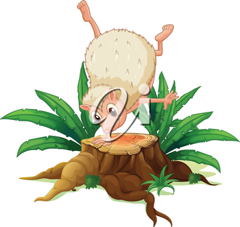 Illustration of a stump with a playful molehog on a white background