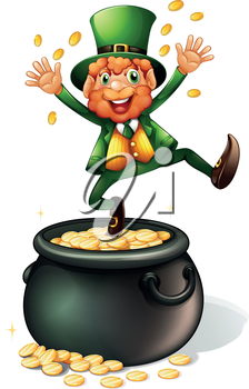 Illustration of an old man and a pot of coins on a white background