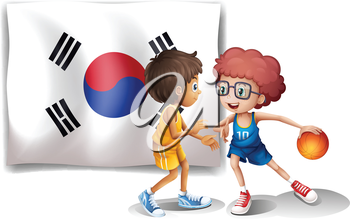 Illustration of the two boys playing basketball in front of the Korean flag on a white background
