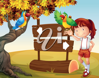 Illustration of a young girl and her parrots beside the signboard