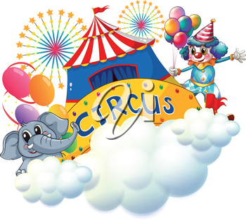 Illustration of an elephant and a clown with a circus signage in the center on a white background