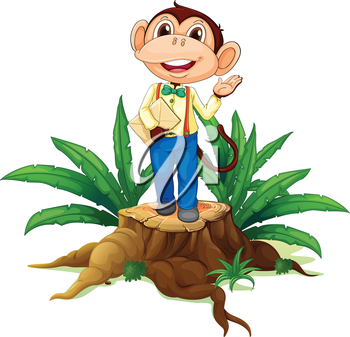 Illustration of a stump with a monkey holding an envelope on a white background