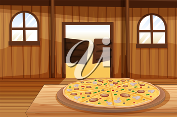Illustration of a pizza pie in the table