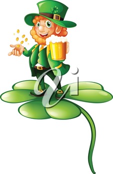Illustration of a man holding a glass of beer and gold coins on a white background