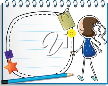 Illustration of a notebook with a sketch of a girl in a blue dress on a white background