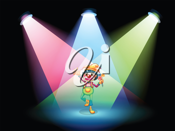 Illustration of a female clown with flowers at the stage